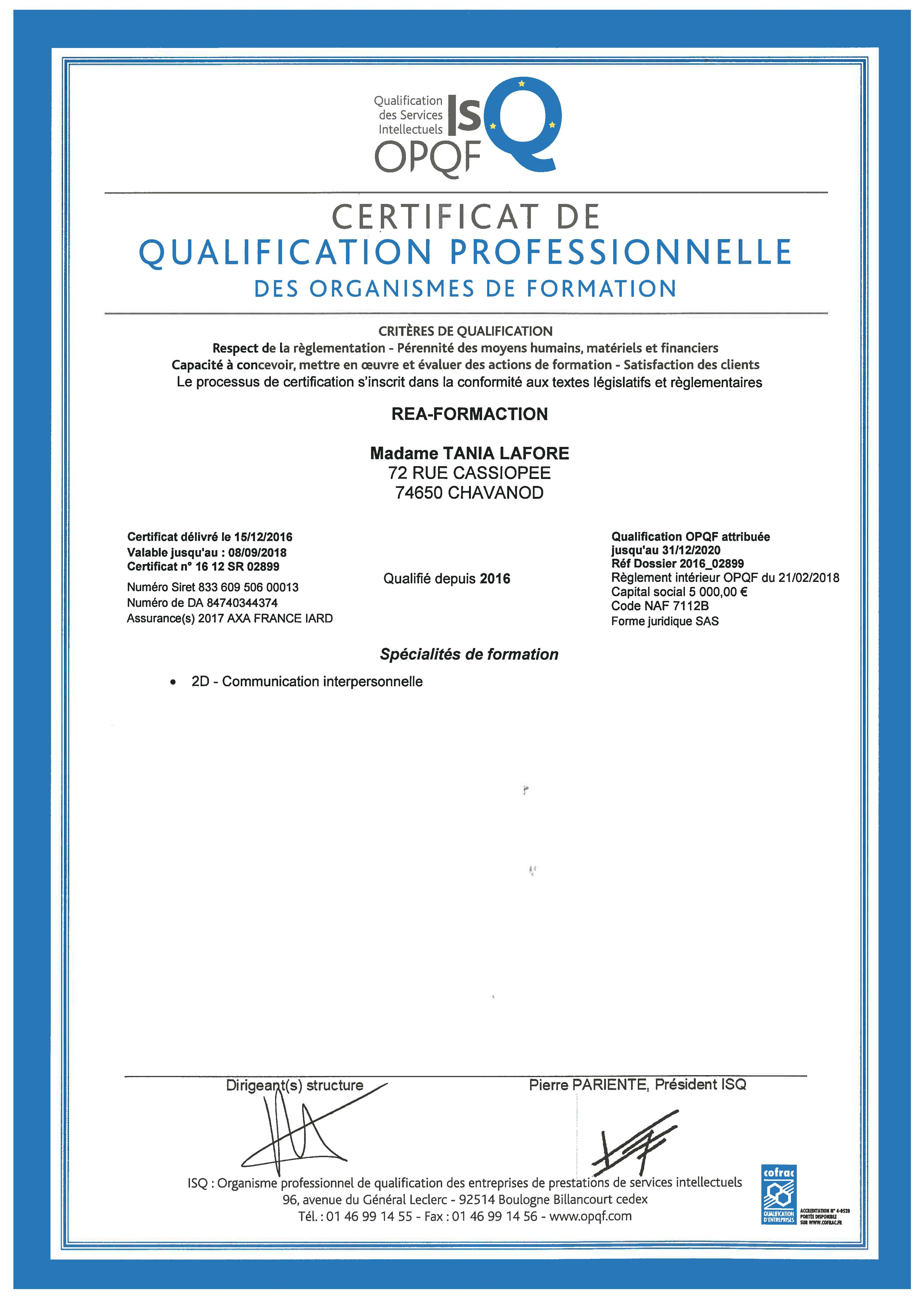 Qualification OPQF | Réa-FormAction